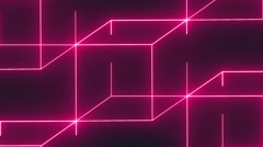 Neon lights cubes background. Stock Footage
