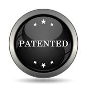 Patented icon. Internet button on white background. . - stock illustration