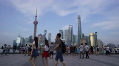 Timelapse of Tourists walking on the Bund, Shanghai China Stock Footage