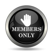 Members only icon. Internet button on white background. . - stock illustration