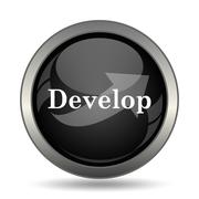 Develop icon. Internet button on white background. . - stock illustration
