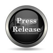 Press release icon. Internet button on white background. . - stock illustration