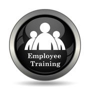 Employee training icon. Internet button on white background. . - stock illustration