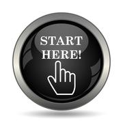 Start here icon. Internet button on white background. . Stock Illustration