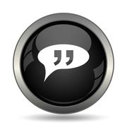 Double quotes icon. Internet button on white background. . - stock illustration