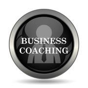 Business coaching icon. Internet button on white background. . - stock illustration