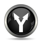 Split arrow icon. Internet button on white background. . - stock illustration