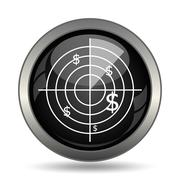 Radar searching money icon. Internet button on white background. . Stock Illustration