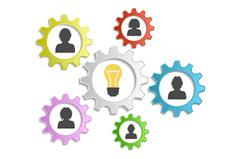 Background circle gears, people and ideas Stock Illustration