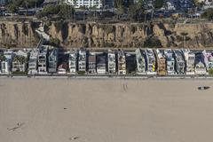 Eclectic Housing Aerial on Santa Monica Beach Stock Photos