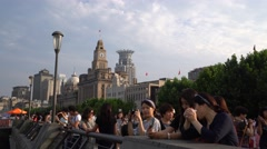 Tourists on the Bund, Shanghai China Stock Footage