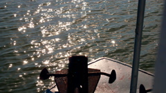 View from boat bow when fast moving over water Stock Footage