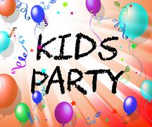 Kids Party Represents Fun Child And Youngsters Stock Illustration
