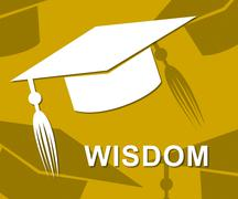 Wisdom Mortarboard Shows Degree Intellect And Diploma Stock Illustration