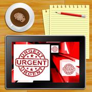 Urgent On Cubes Shows Urgent Priority Tablet Stock Illustration