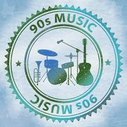 Nineties Music Shows Soundtrack Acoustic And Sound Stock Illustration