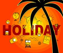 Holiday Icons Representing Sign Getaway And Vacations Stock Illustration