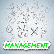 Management Ideas Indicates Boss Contemplate And Decision Stock Illustration