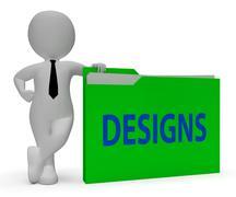 Designs Folder Indicates Files Conception 3d Rendering - stock illustration