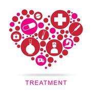 Treatment Icons Represents Medical Care And Medication - stock illustration