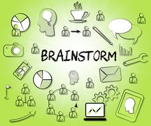 Brainstorm Icons Means Dream Up And Brainstorming Stock Illustration