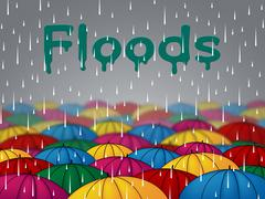 Floods Rain Represents Calamity Overflow And Parasols Stock Illustration