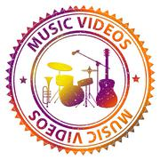 Music Videos Means Audio Visual And Melody Stock Illustration