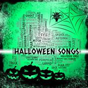 Halloween Songs Shows Trick Or Treat And Acoustic Stock Illustration