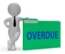 Overdue Folder Represents Behind Schedule 3d Rendering Stock Illustration