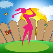 Golf Swing Woman Indicates Challenge Playing And Player - stock illustration
