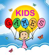Kids Games Indicates Play Time And Childhood Stock Illustration