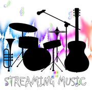 Streaming Music Represents Sound Acoustic And Broadcasting Stock Illustration