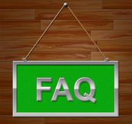 Faq Sign Shows Frequently Asked Questions And Advertisement - stock illustration