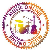 Music Online Indicates Web Site And Acoustic - stock illustration