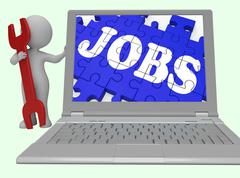 Jobs Puzzle Shows Careers Online 3d Rendering Stock Illustration