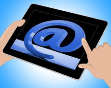 At Sign Mean Email Correspondence on Web Tablet - stock illustration