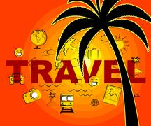 Travel Icons Indicates Tours Expedition And Trips Stock Illustration