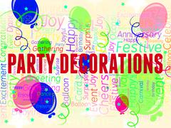 Party Decorations Represents Fun Celebrations And Decorative Stock Illustration
