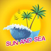 Sun And Sea Represents Summer Time And Sunshine - stock illustration