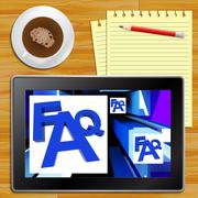 FAQ On Cubes Shows Advice With Tablet - stock illustration