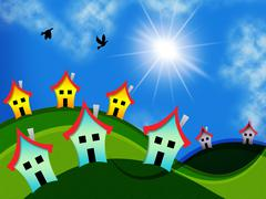 Countryside Houses Means Housing Environment And Meadow - stock illustration