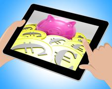 Piggybank Surrounded In Coins Showing European Incomes Tablet - stock illustration