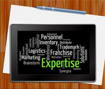 Expertise Word Shows Educated Proficiency And Wordclouds Tablet Stock Illustration