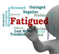 Fatigued Word Shows Lack Of Energy 3d Rendering Stock Illustration
