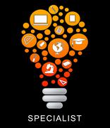 Specialist Lightbulb Indicates Power Source And Expertise Stock Illustration