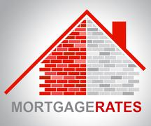Mortgage Rates Represents Real Estate And Apartment Stock Illustration