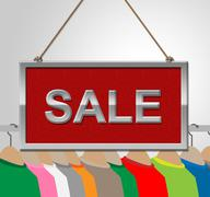 Sale Sign Shows Garment Discounts And Signboard - stock illustration