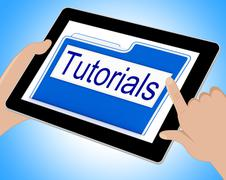 Tutorials File Indicates Organization Correspondence And Files Tablet - stock illustration
