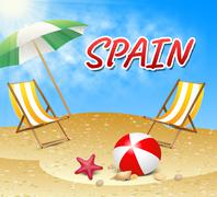 Spain Vacations Represents Hot Sunshine And Seaside Stock Illustration