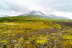 View of snow mountain and rain clouds in summe Kuvituskuvat